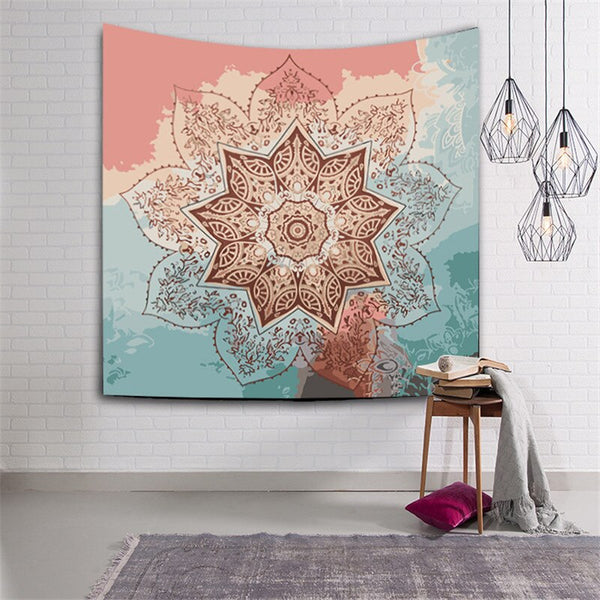 Polyester fabric Wall hanging Tapestry Indian Mandala Compass
