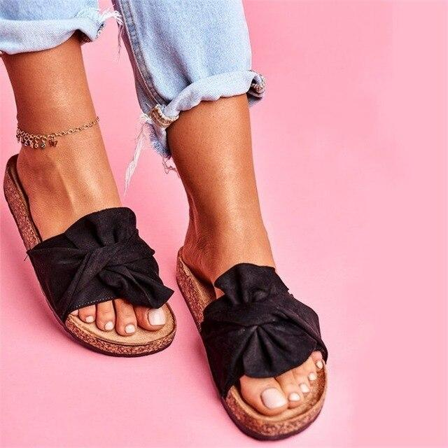 Women Summer Bowknot Slip On Sandals