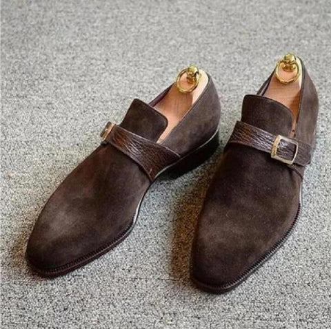 Men's Vintage Style Leather Buckle Suede Loafers
