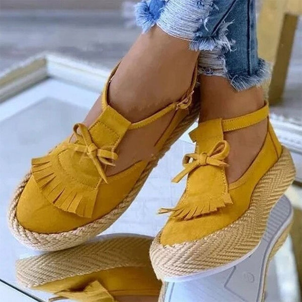 Women's Fashion Summer Platform Fringe Flat Shoes