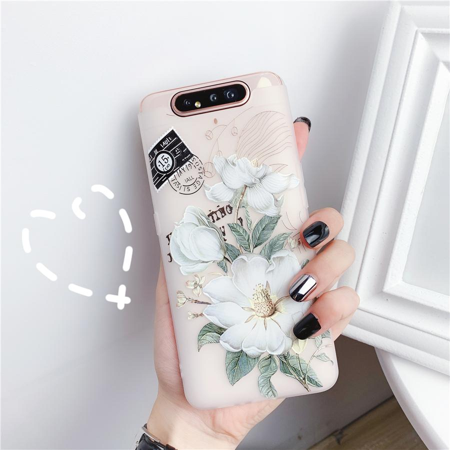 3D Matte Emboss Flowers Phone Case for Samsung Galaxy