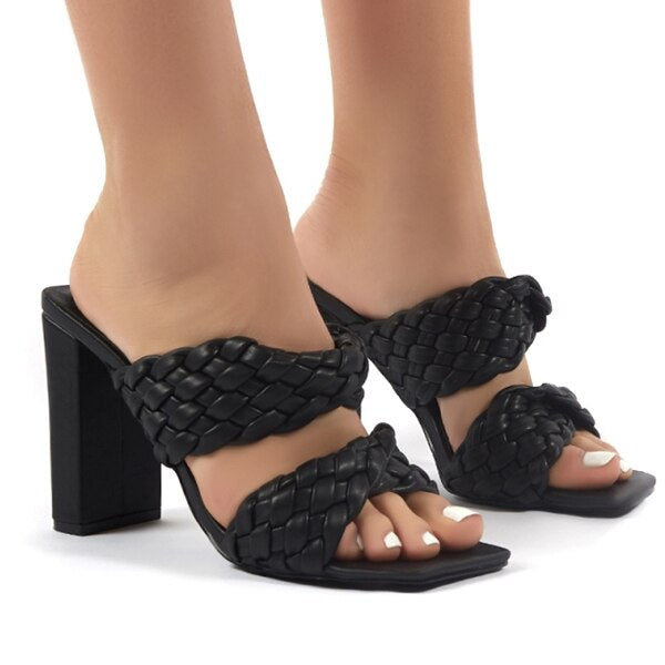 Women's Ankle-Wrap Gladiator Square heel Sandals