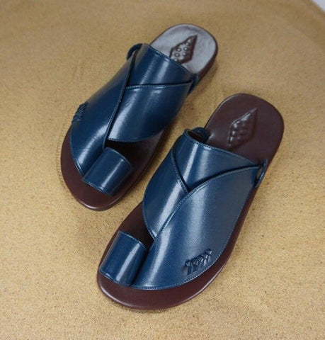 Men's Fashion Summer  Leather  Casual Slippers