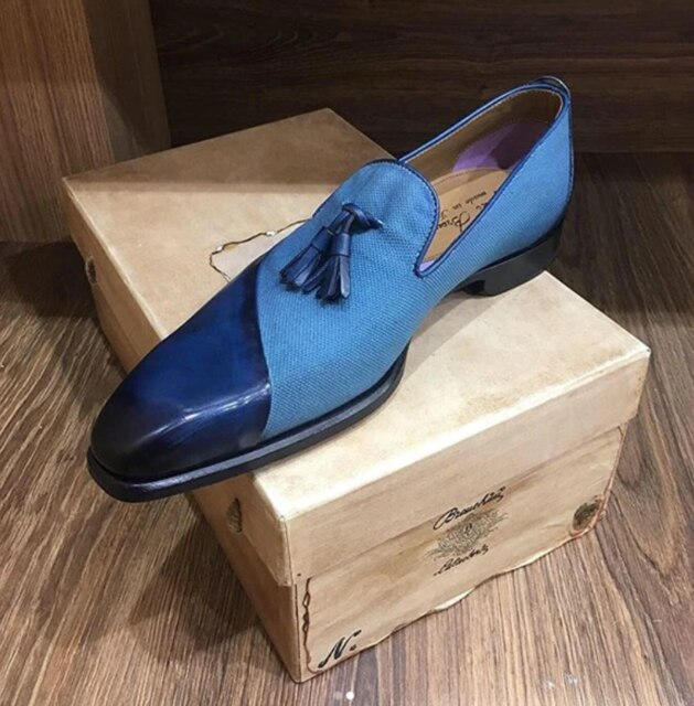 Men's fashion handmade stitching loafers