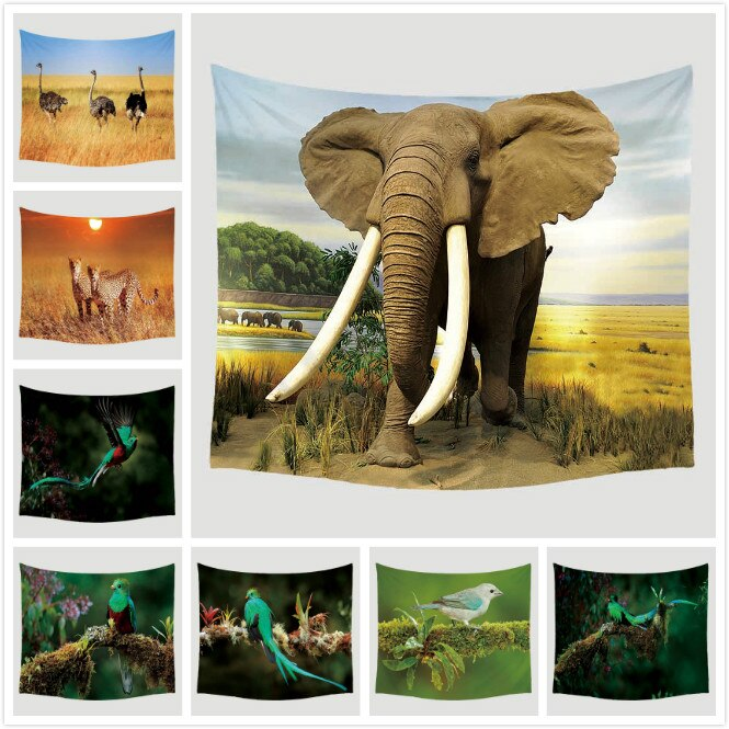 Elephant Animal Printed Blanket Wall Hanging Home Decoration