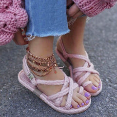 Women's Fashion Round Toe Slip-On Woven Rope Knots Beach Sandals