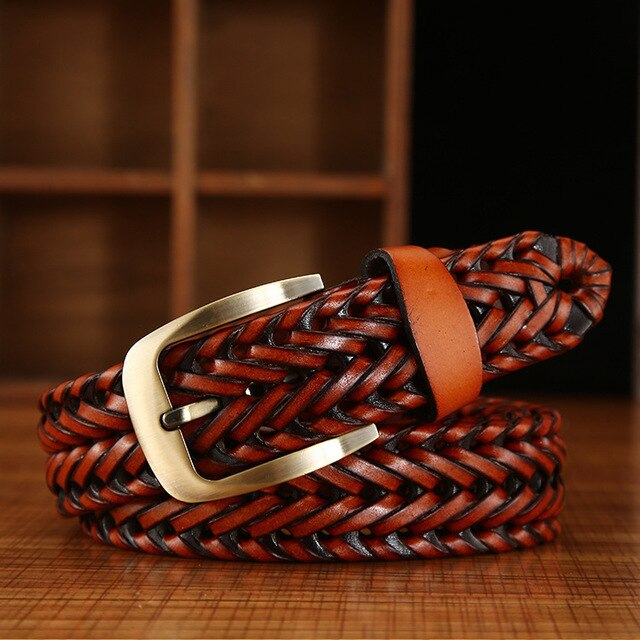 Fashion Genuine Braided Cow Leather Belts