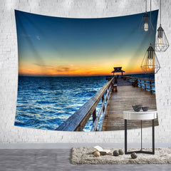 3D Sea Beach Nature Scenery Printed Modern Wall Hanging Tapestry
