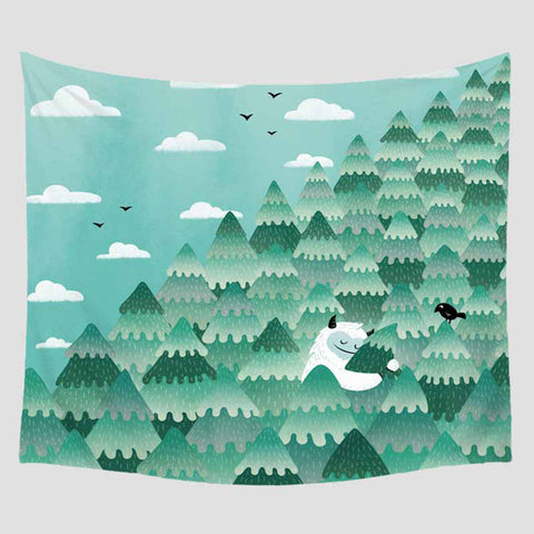 Cartoon Illustration Printed Tapestry