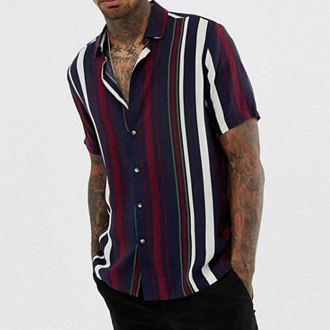 Men's Fashion casual striped solid printed loose shirts