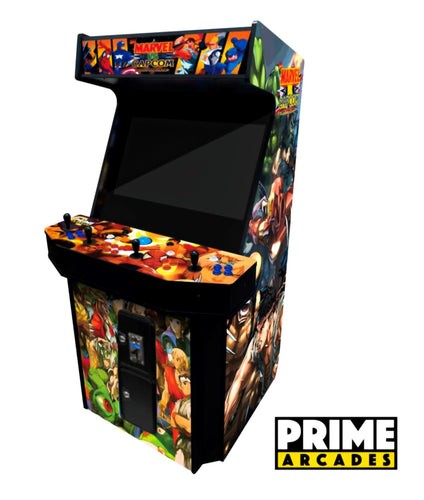 4,708 Games in 1 Four Player Stand Up Arcade 32″ LED Monitor With Trackball - Prime Arcades Inc