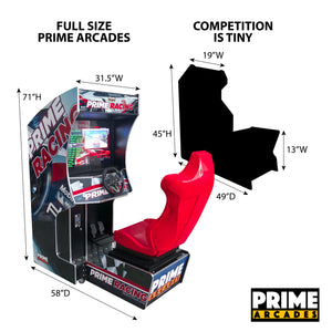107 Racing Games in 1 Arcade Machine with Seat - Prime Arcades Inc