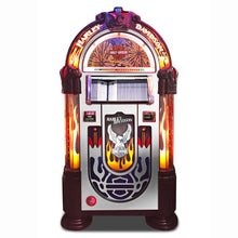 Load image into Gallery viewer, ROCK-OLA BUBBLER HARLEY-DAVIDSON FLAMES CD JUKEBOX BRUSHED ALUMINUM - Prime Arcades Inc
