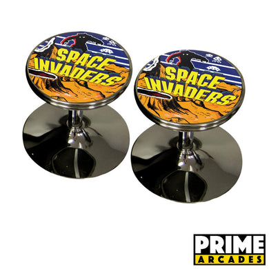 Custom Art 18″ Retro Chrome Swivel Cocktail Stools – Set of (2) - Prime Arcades Inc