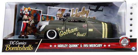 1:24 Scale Diecast Hollywood Rides DC Bombshells 1951 Mercury w/ Harley Quin