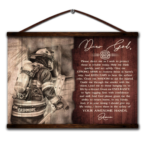 Image of Firefighter canvas poster dear god i seek to protect those in trouble today help me i leave them in the safety of your awesome hands amen
