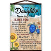 Turtle sunflower canvas poster to my daughter never forget that i love you brave beautiful just do your best with love and kisses mom