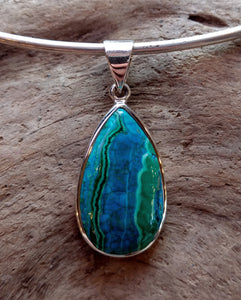 Chrysocolla/Malachite Gemstone Sterling Silver Pendant