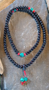 Rosewood Mala Beads With Faux Turquoise Accent Beads