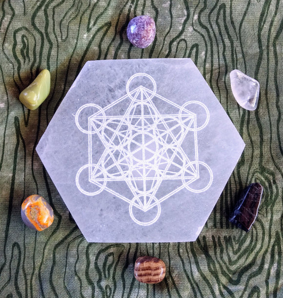 Metatron's Cube Carved Selenite Plate