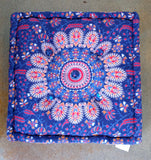 Square Mandala Print Meditation Cushion ~ Assorted Colors
