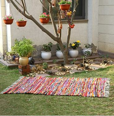 Recycled Multi Color Chindi Rug ~ 48x72in