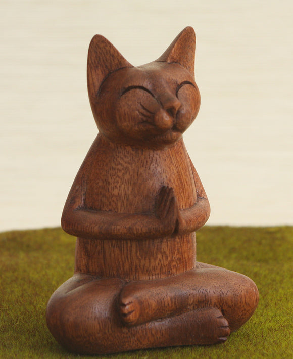 Hand Carved Wooden Meditating Namaste Cat Statue