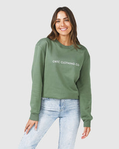 ORTC Fleece Logo Crew Green