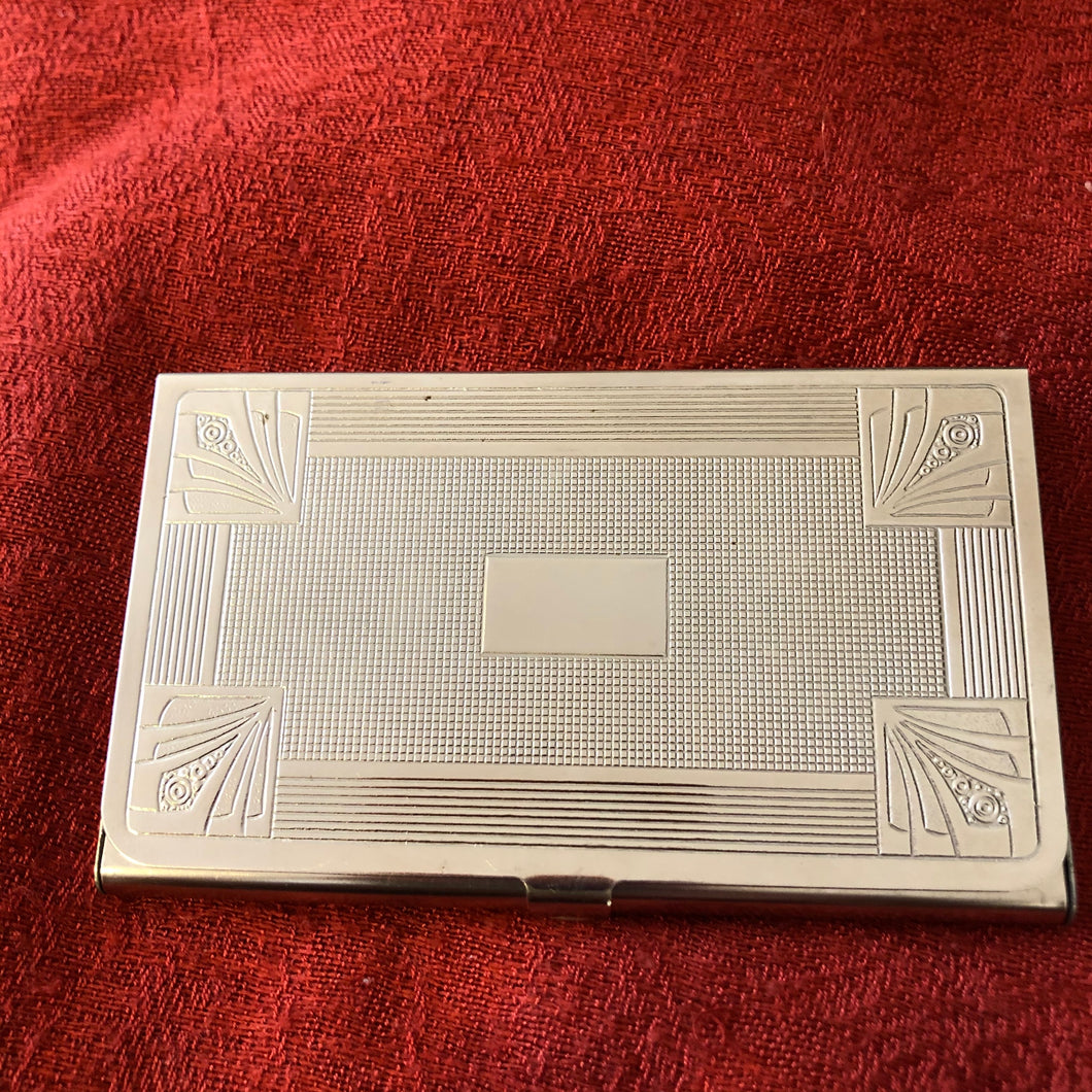 Hansaware Germany Silver Tone Art Deco Business Card Case