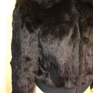 Black Rabbit Fur Bomber Jacket - Medium