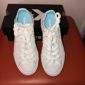 Converse Confetti White Sneakers - Junior 13