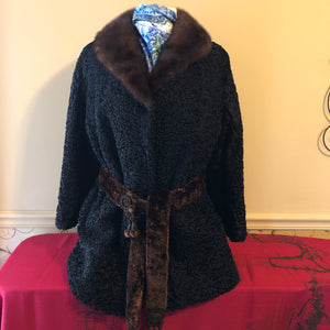 Vintage Genuine Curly Lamb Mink Collar Coat - Medium/Large