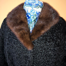 Load image into Gallery viewer, Vintage Genuine Curly Lamb Mink Collar Coat - Medium/Large
