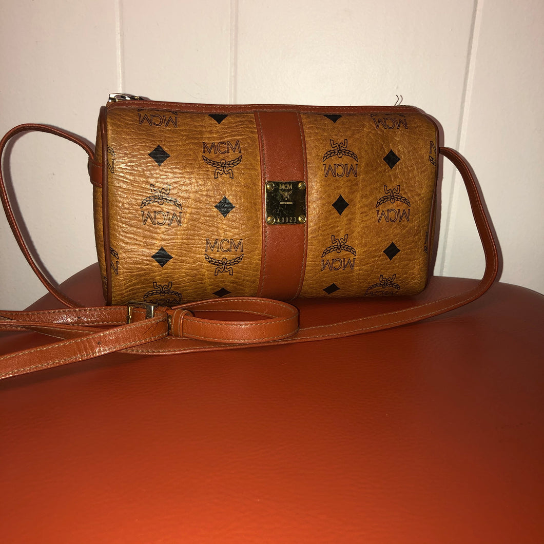 MCM Vintage Cognac Leather Small Crossbody Bag