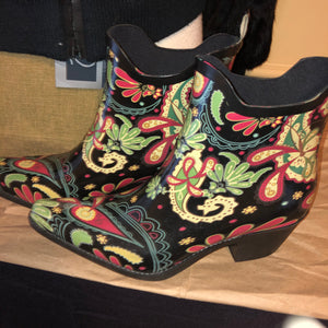 Madeline Paisley Rubber Rain Ankle Boots - 39 / 8.5M