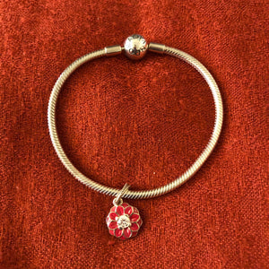 Pandora Sterling Bracelet with Oriental Bloom Dangle Charm