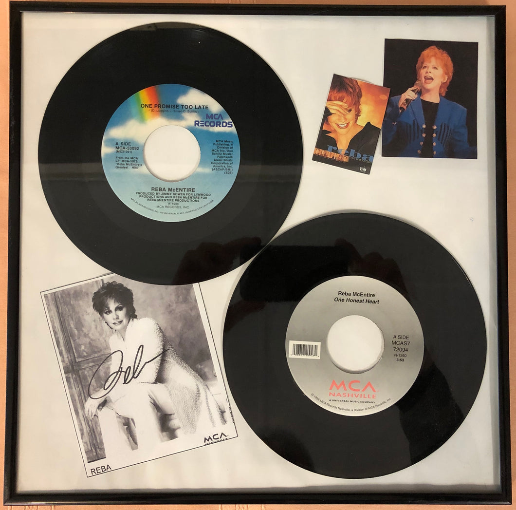 Framed Reba McEntire 45 Singles with Photos