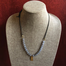 Load image into Gallery viewer, Satya Adjustable Grey Agate and Leather Necklace