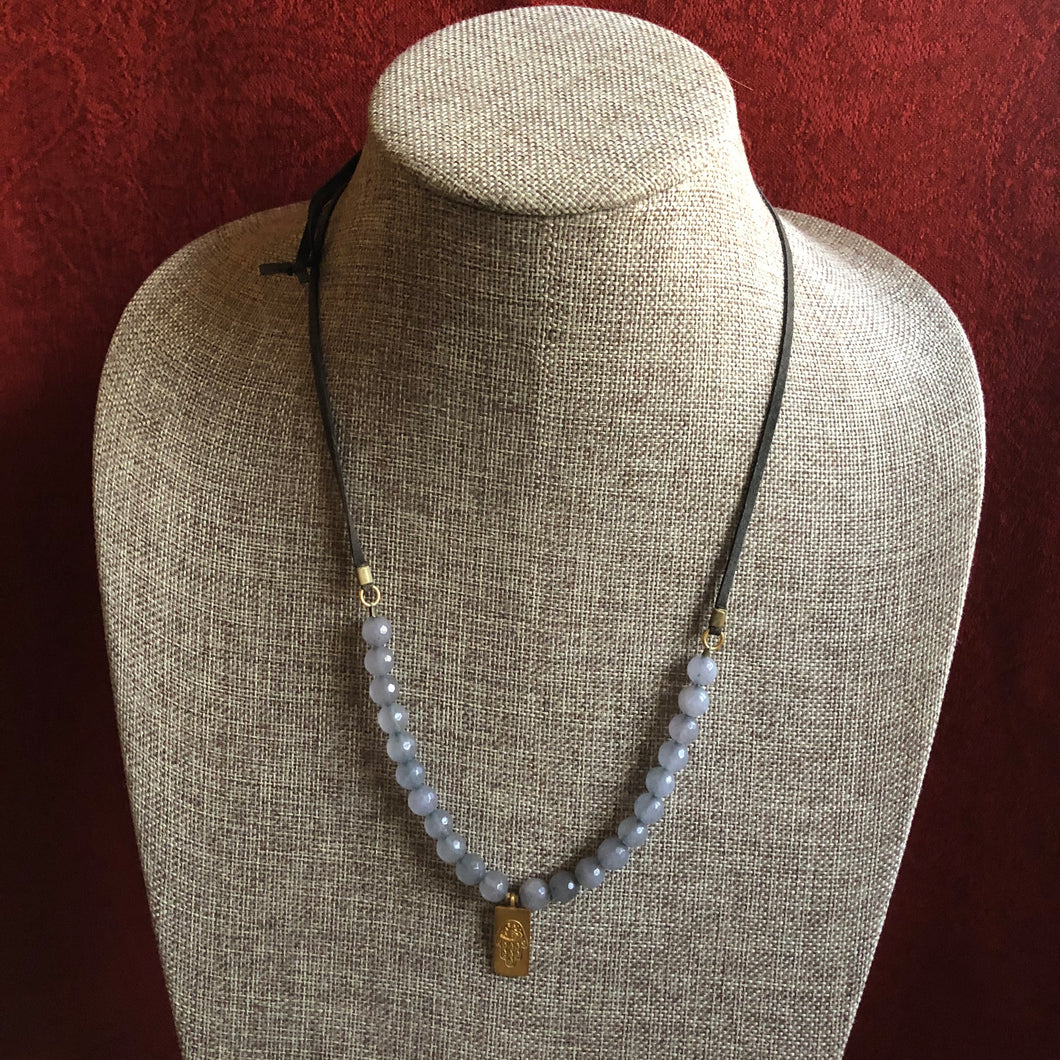 Satya Adjustable Grey Agate and Leather Necklace