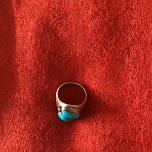 Vintage Sterling Silver and Turquoise Men's Ring - Size 10