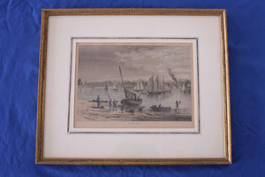 "Framed Vintage Print- ""AT RED BANK, NY"" Picturesque America- c1880"