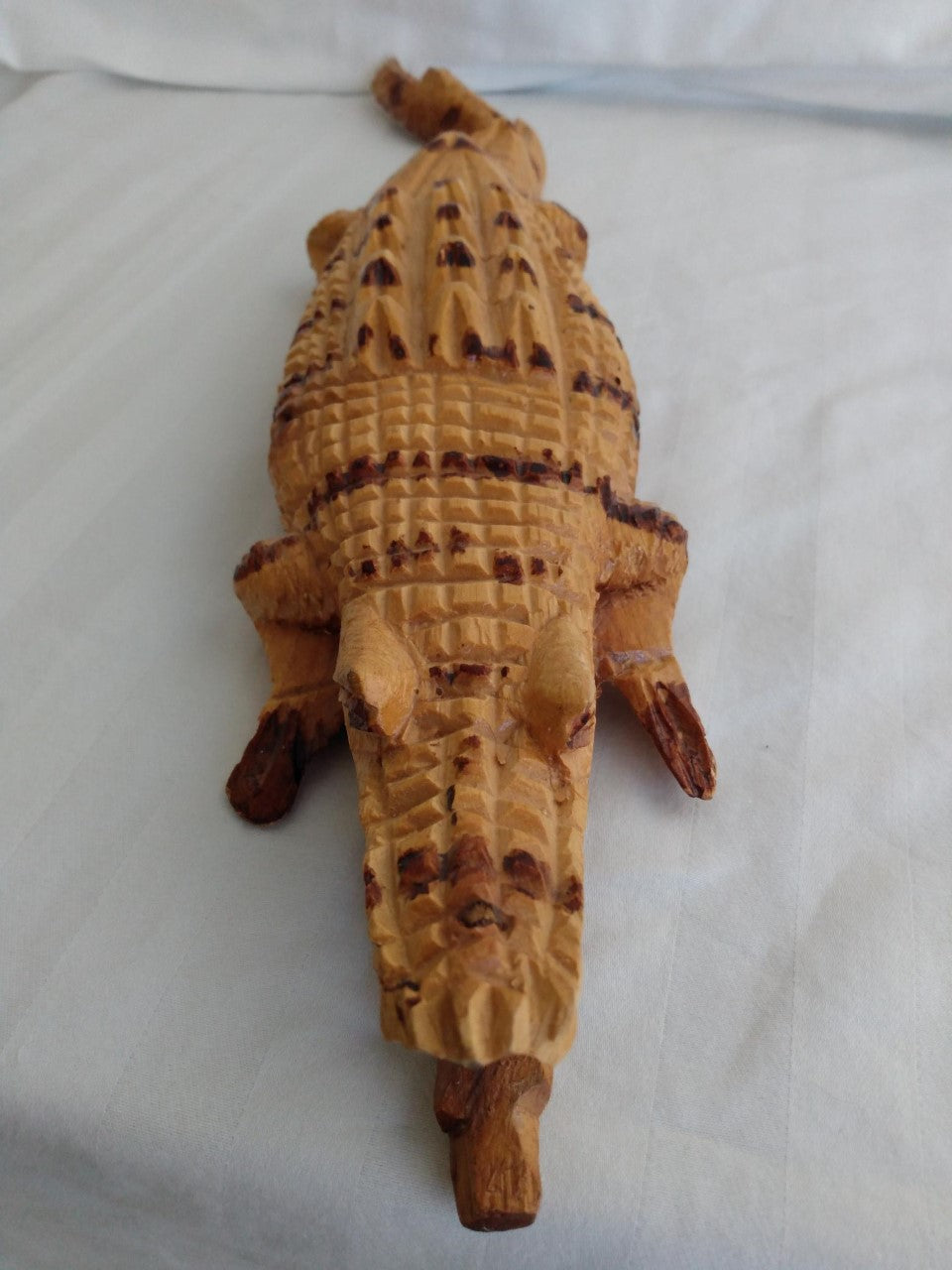Hand Carved Wood Crocodilian Figurine Sculpture 20.25