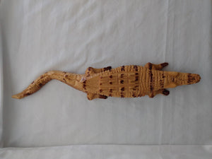 "Hand Carved Wood Crocodilian Figurine Sculpture 20.25"" Long"