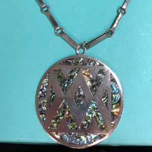 Vintage Sterling and Abalone Pendant and Chain