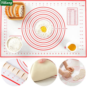 Large Kitchen Baking Mats Silicone Glass Dough Mat Non-Stick Flour Rolling Pad With Scale Dough Pad For Pastry Oven Liner Mat