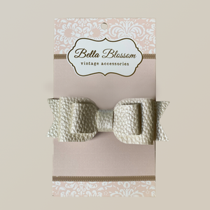 Ruby White Cloud Baby Bow Clip - Bella Blossom Bows