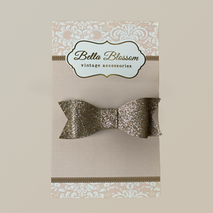 Lexie Glitter Gold Baby Bow Clip - Baby Bows headbands Baby Gifts Hair Clips