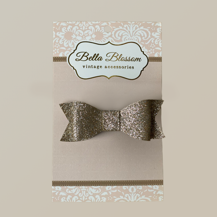 Lexie Glitter Gold Baby Bow Clip - Bella Blossom Bows
