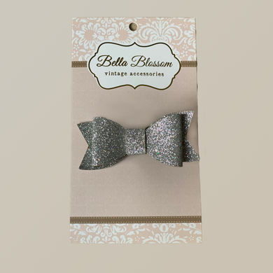 Lexie Silver Glitter Baby Bow Clip - Baby Bows headbands Baby Gifts Hair Clips