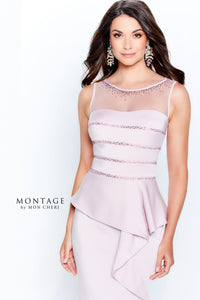 Montage 120903 Classic Sleeveless Gown with Beading and Illusion